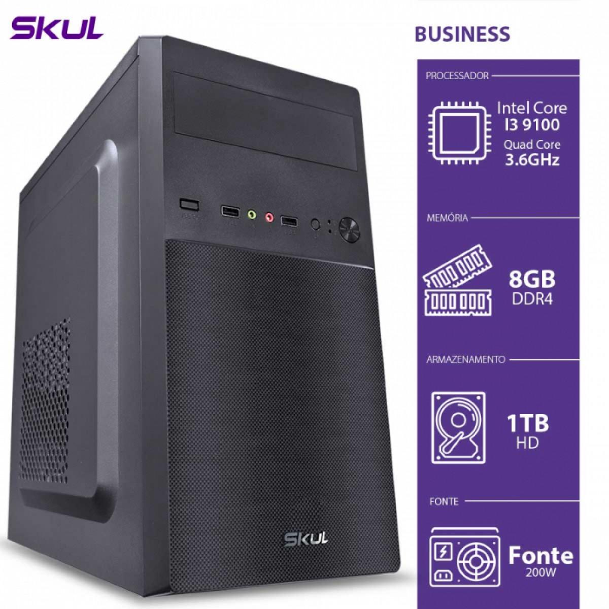 Computador Skul T-Moba Business B300 i3 9100 / 8GB DDR4 / HD 1TB  / HDMI/VGA / FONTE 200W