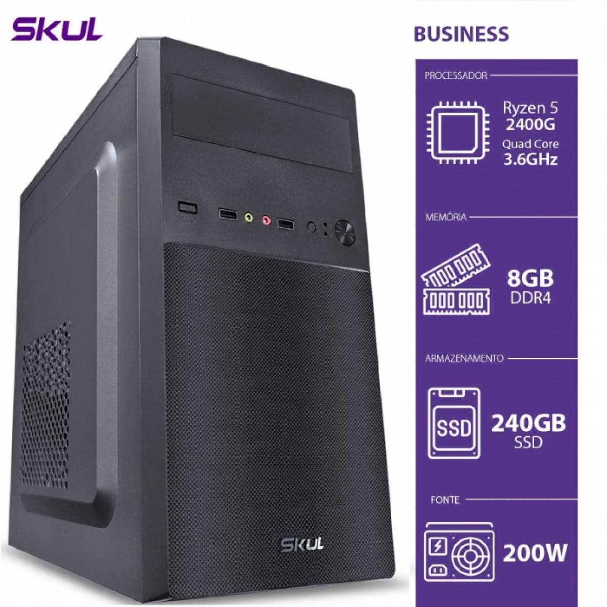 Computador Skul T-Gamer Business B500 Ryzen 5 2400G / 8GB DDR4 / SSD 240GB  / HDMI/VGA / FONTE 200W