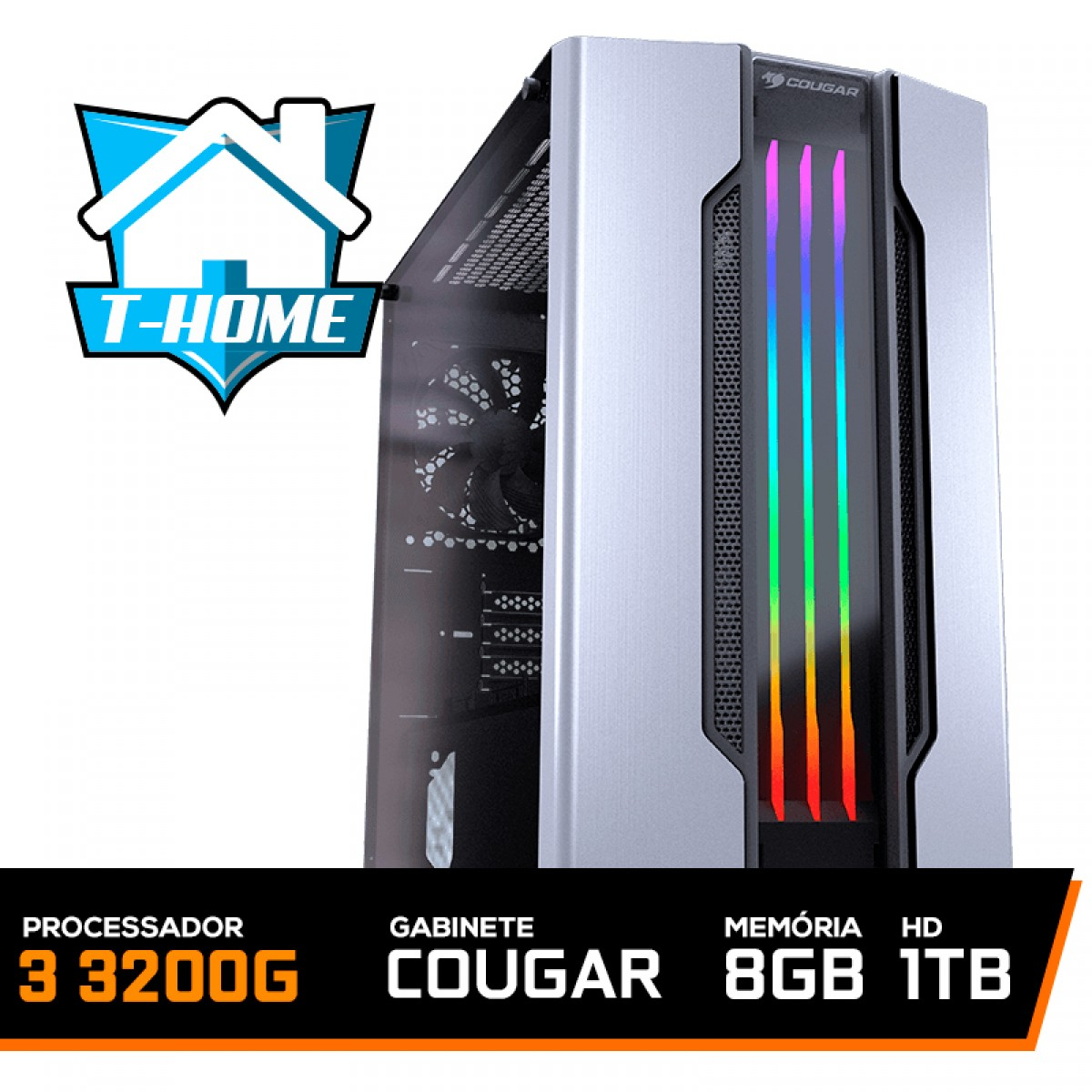 Computador T-home Ryzen 3 3200G / 8Gb DDR4 / HD 1Tb