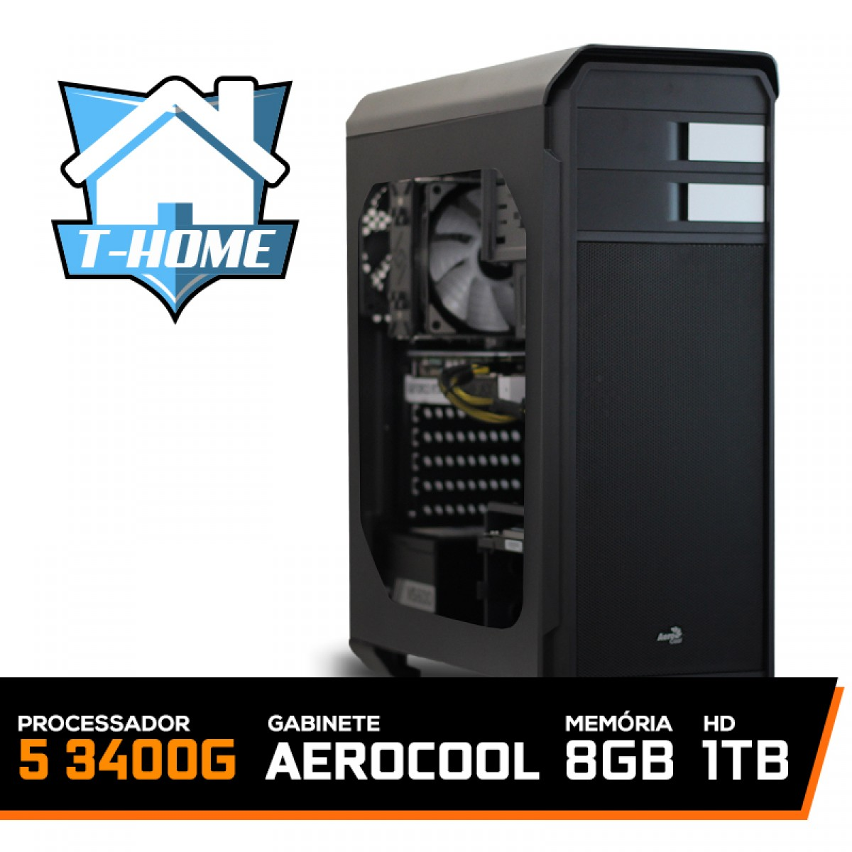 Computador T-home Ryzen 5 3400G / 8Gb DDR4 / HD 1TB