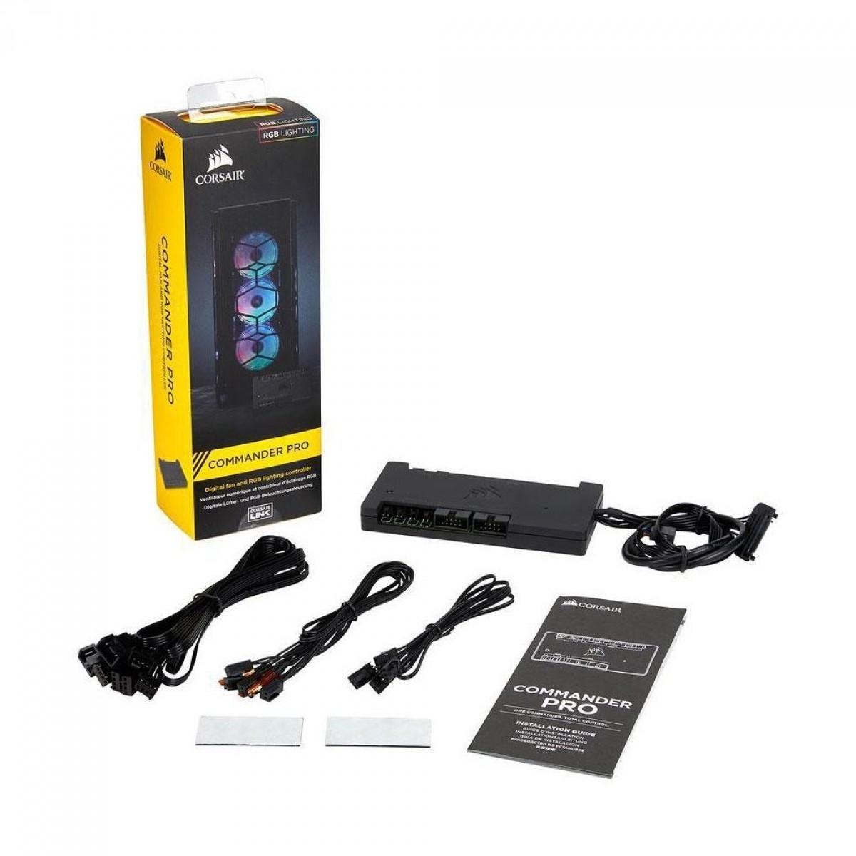 Controlador de Fan Corsair iCue Commander PRO Smart RGB, Para Velocidade e LED RGB, CL-9011110-WW