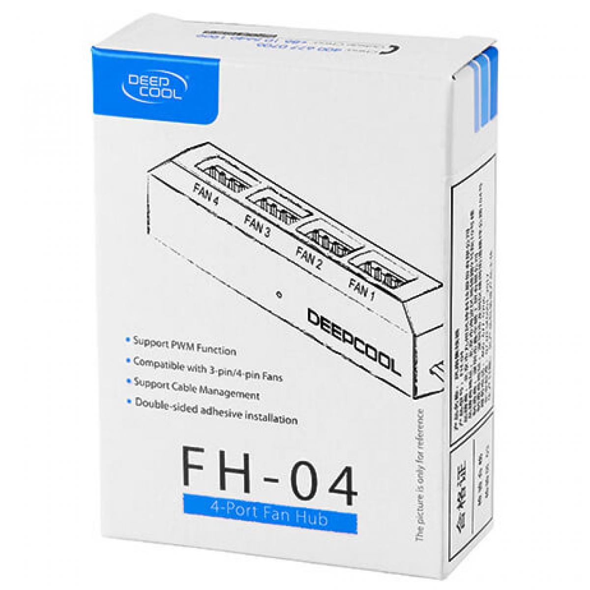 Controlador de Fan Deepcool FH-04, com 4 Saídas de 3 e 4 pinos, Função PWM, DP-F04PWM-HUB