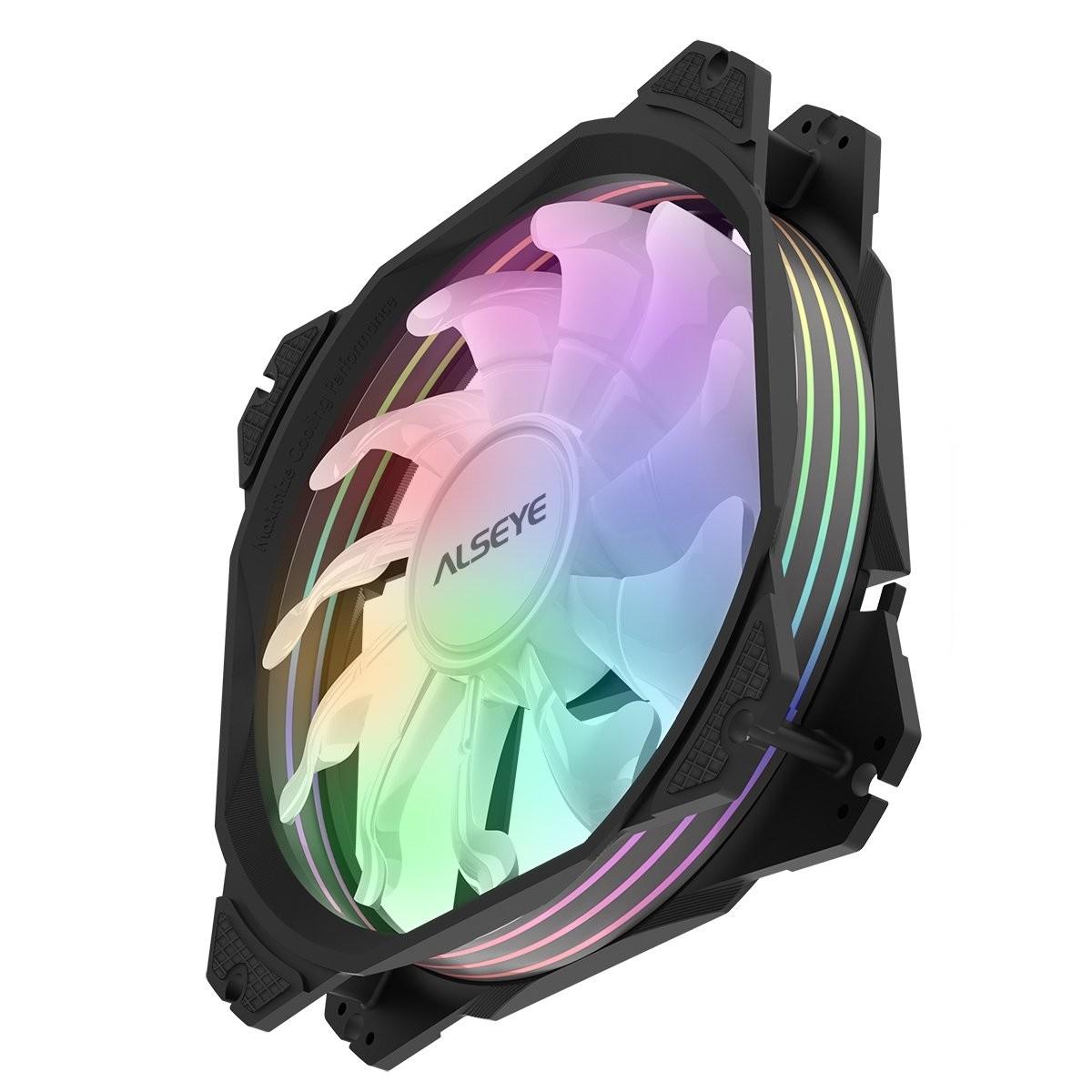 Cooler para Gabinete Alseye M120-P Black, RGB, 120mm