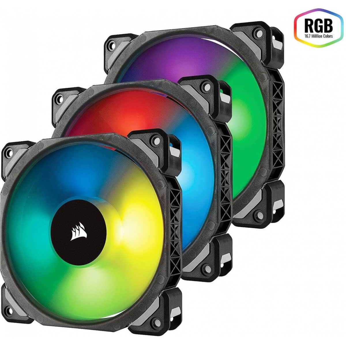 Kit Fan com 3 Unidades Corsair ML120 PRO, RGB 120mm, CO-9050076-WW