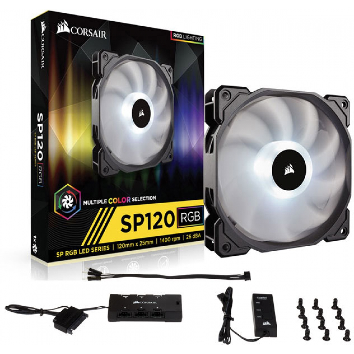 Cooler para Gabinete Corsair SP120 RGB, 120mm, com Controlador, CO-9050060-WW
