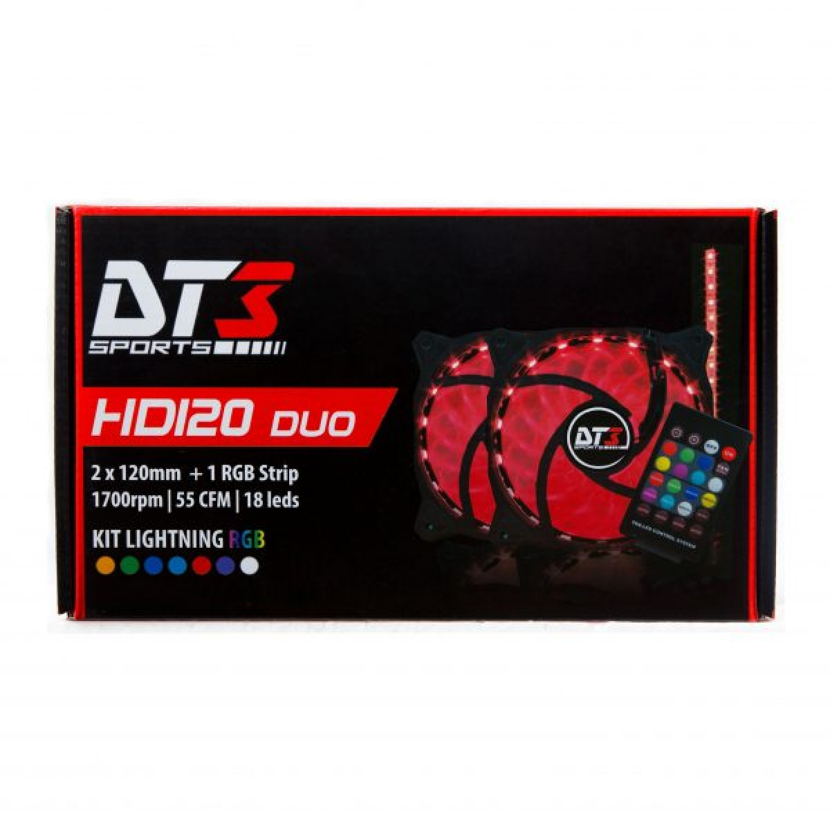 Cooler para Gabinete DT3 SPORTS HD120 DUO RGB LED com Controle Remoto 120mm