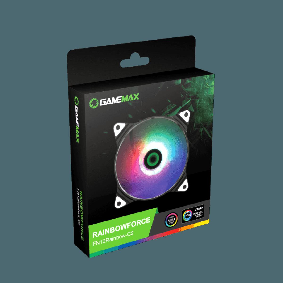 Cooler Para Gabinete Gamemax Force Rainbow C2, ARGB 120mm, FN-12RAINBOW-C2