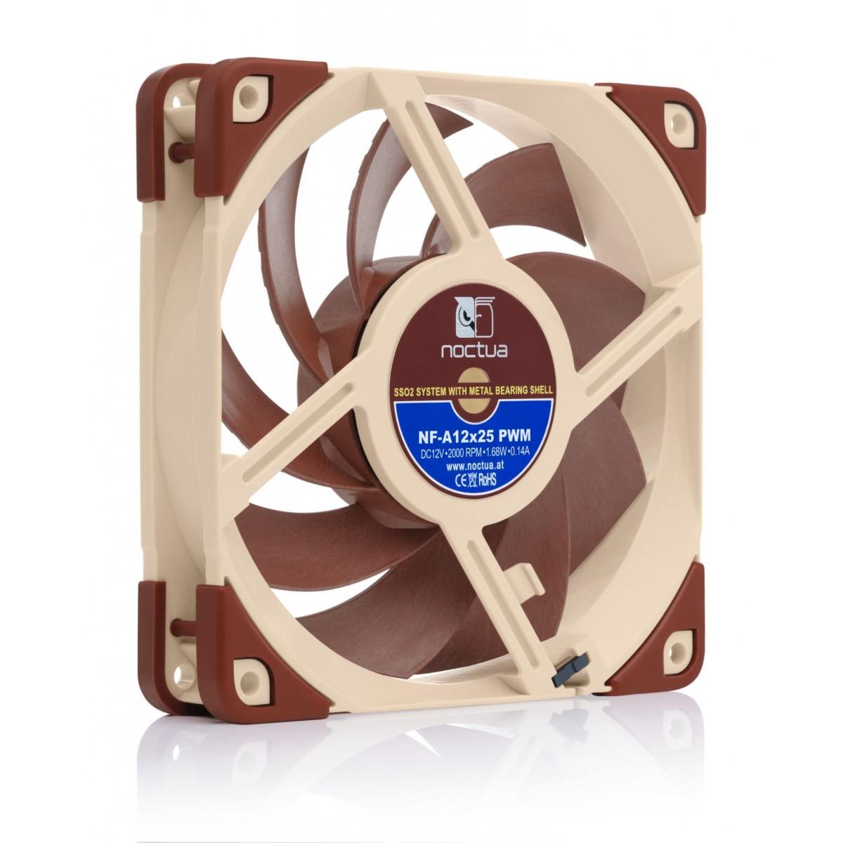 Cooler para Gabinete Noctua NF-A12x25 PWM, Beige, 120mm, NF-A12x25 PWM