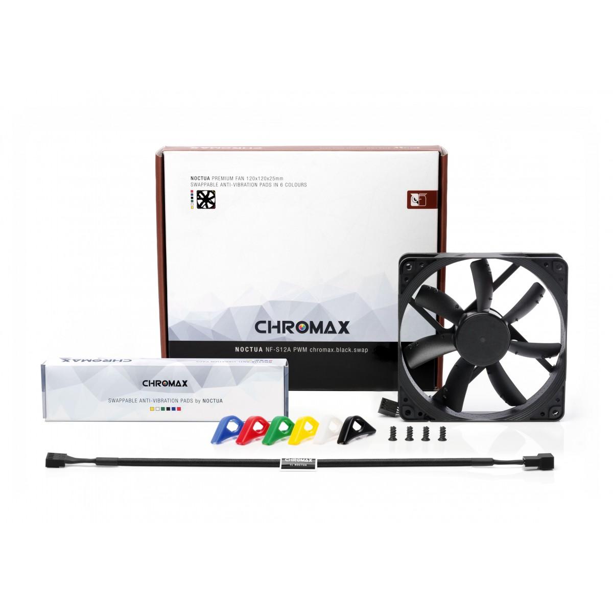 Cooler para Gabinete Noctua NF-S12A PWM chromax.black.swap, Black, 120mm, NF-S12A PWM chromax.black.swap