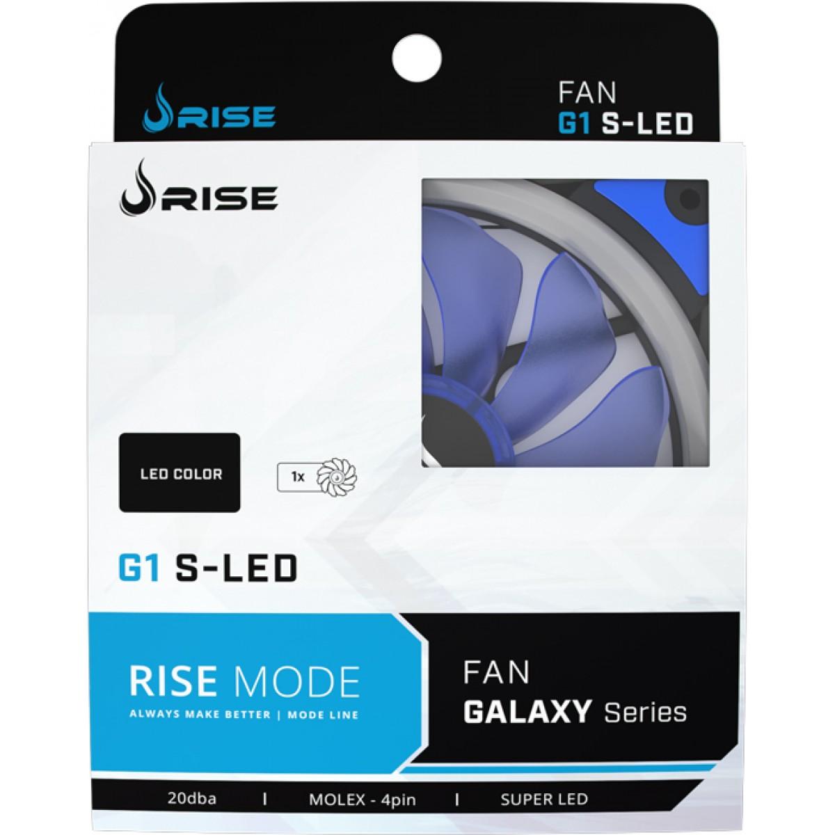 Cooler Para Gabinete Rise Mode Galaxy G1 120mm LED Azul RM-FN-01-BB