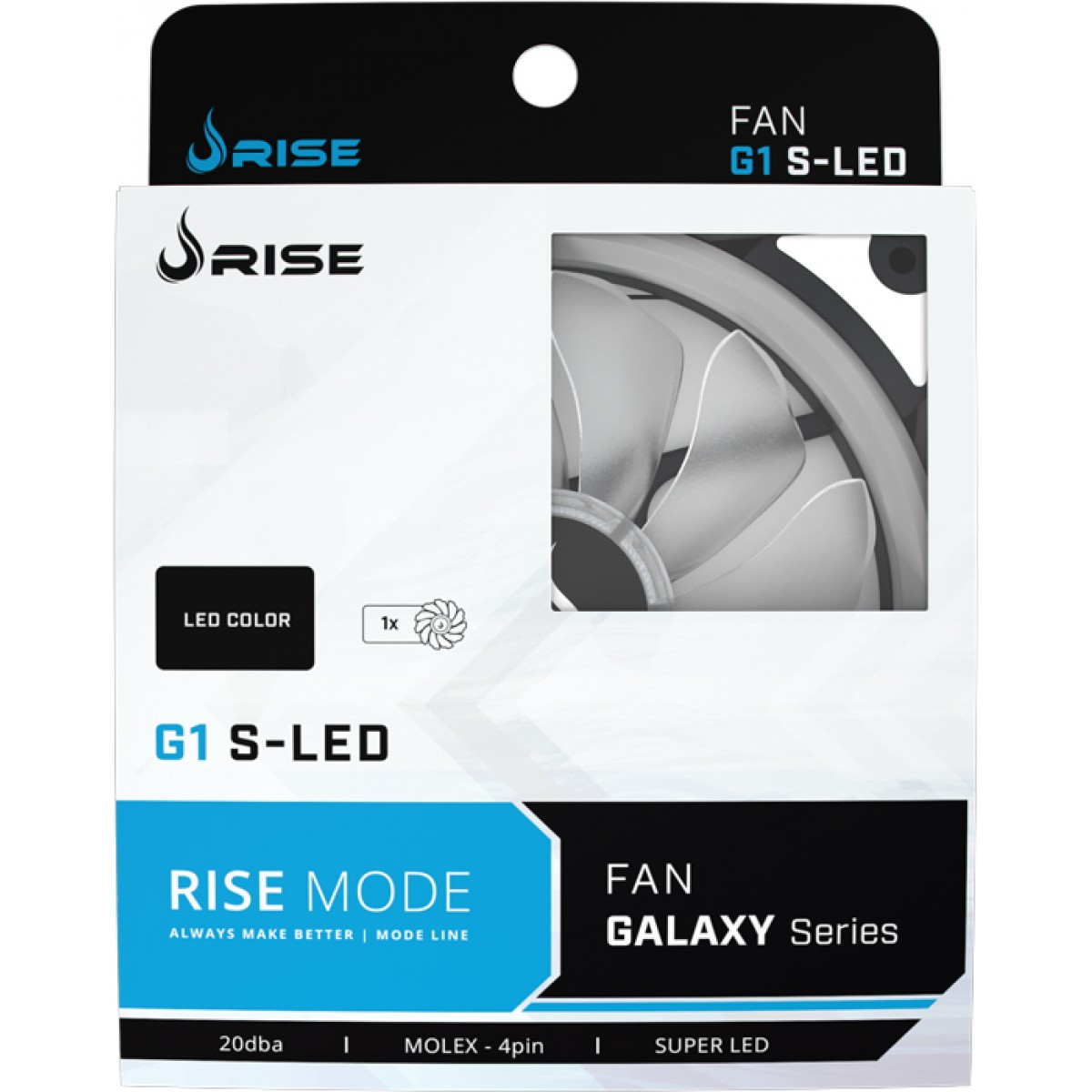 Cooler Para Gabinete Rise Mode Galaxy G1 120mm LED Branco RM-FN-01-BW