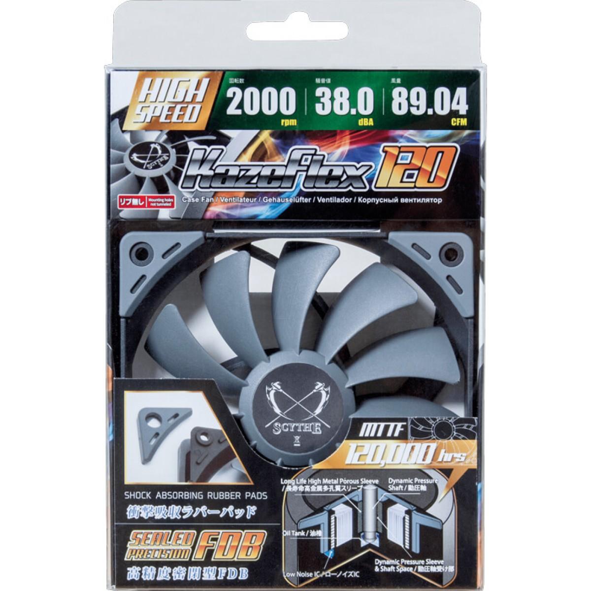 Cooler para Gabinete Scythe Kaze Flex 120mm 2.000 RPM, SU1225FD12H-RP