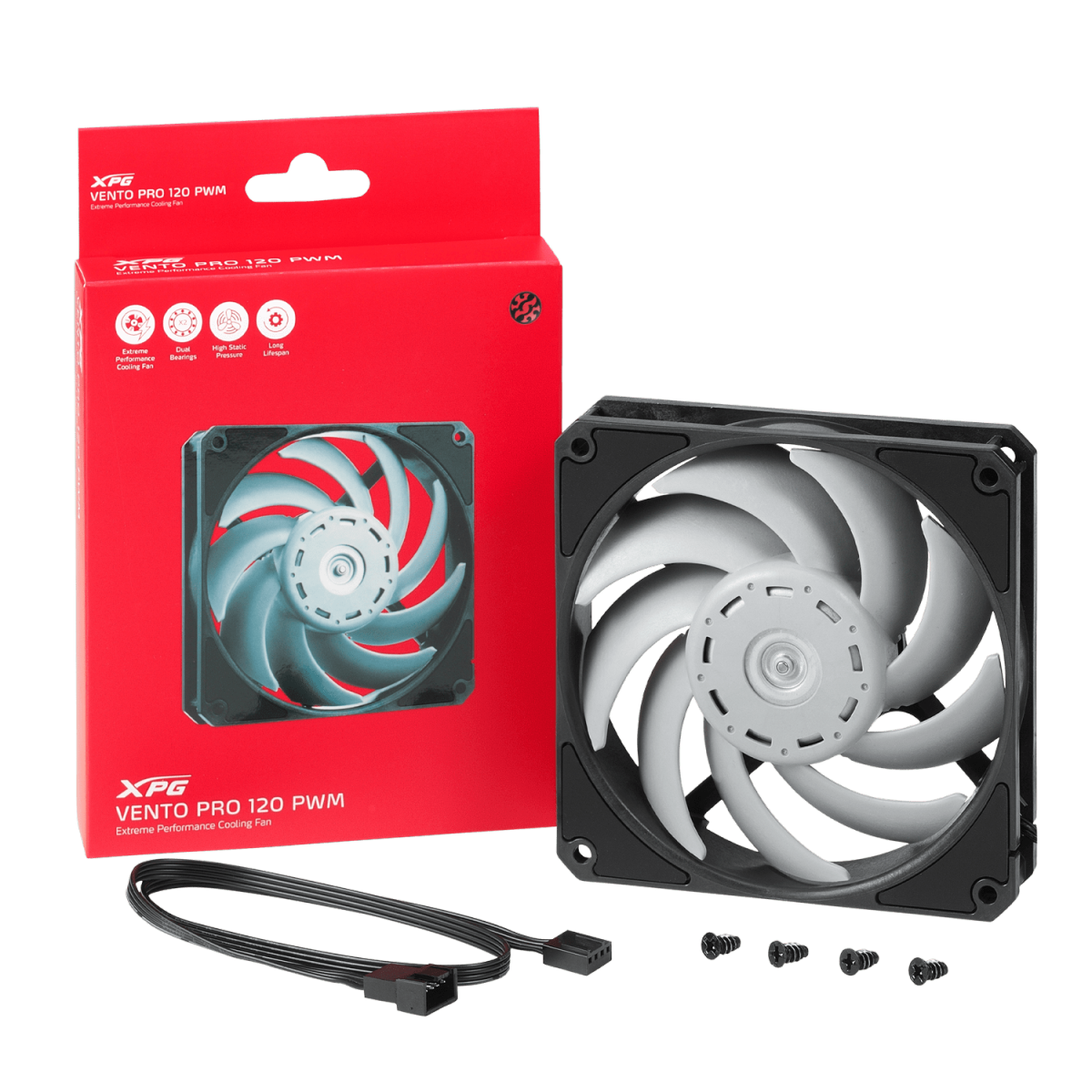 Cooler para Gabinete XPG Vento PRO, 120mm, 2150RPM, PWM, VENTOPRO120PWM-BKCWW