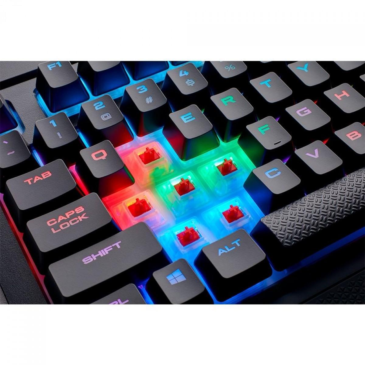 Teclado Mecanico Gamer Corsair Gaming K68 RGB Mechanical Keyboard, Backlitrgb LED, Cherry Mx Red, CH-9102010-BR (desativado - usar ID 9948)