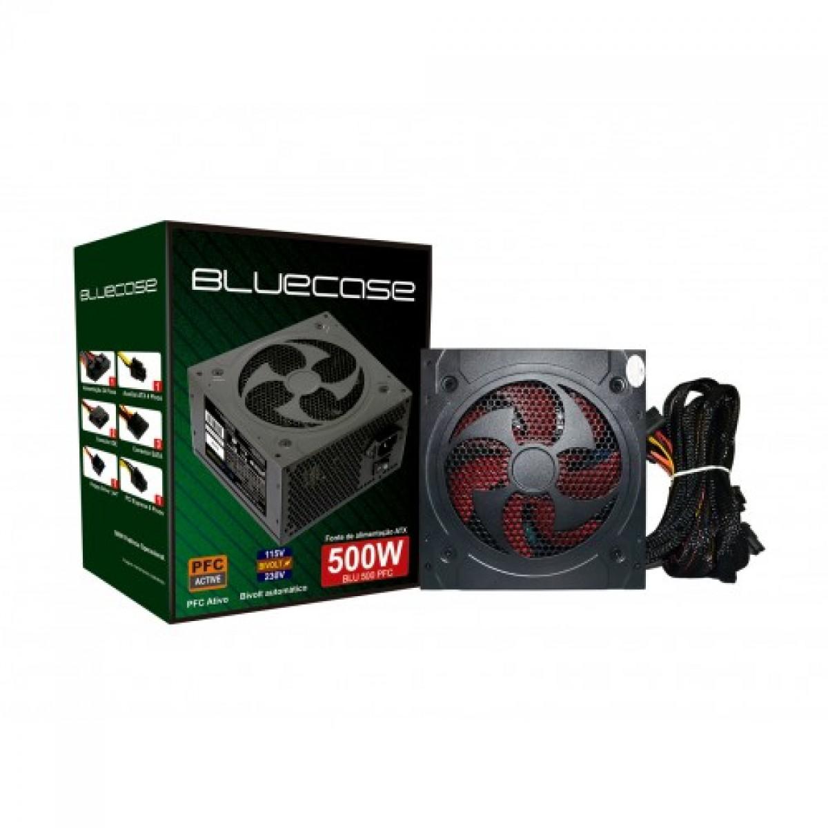 Fonte BlueCase 500W BLU500PFC,  PFC ATIVO, BOX C/CABO