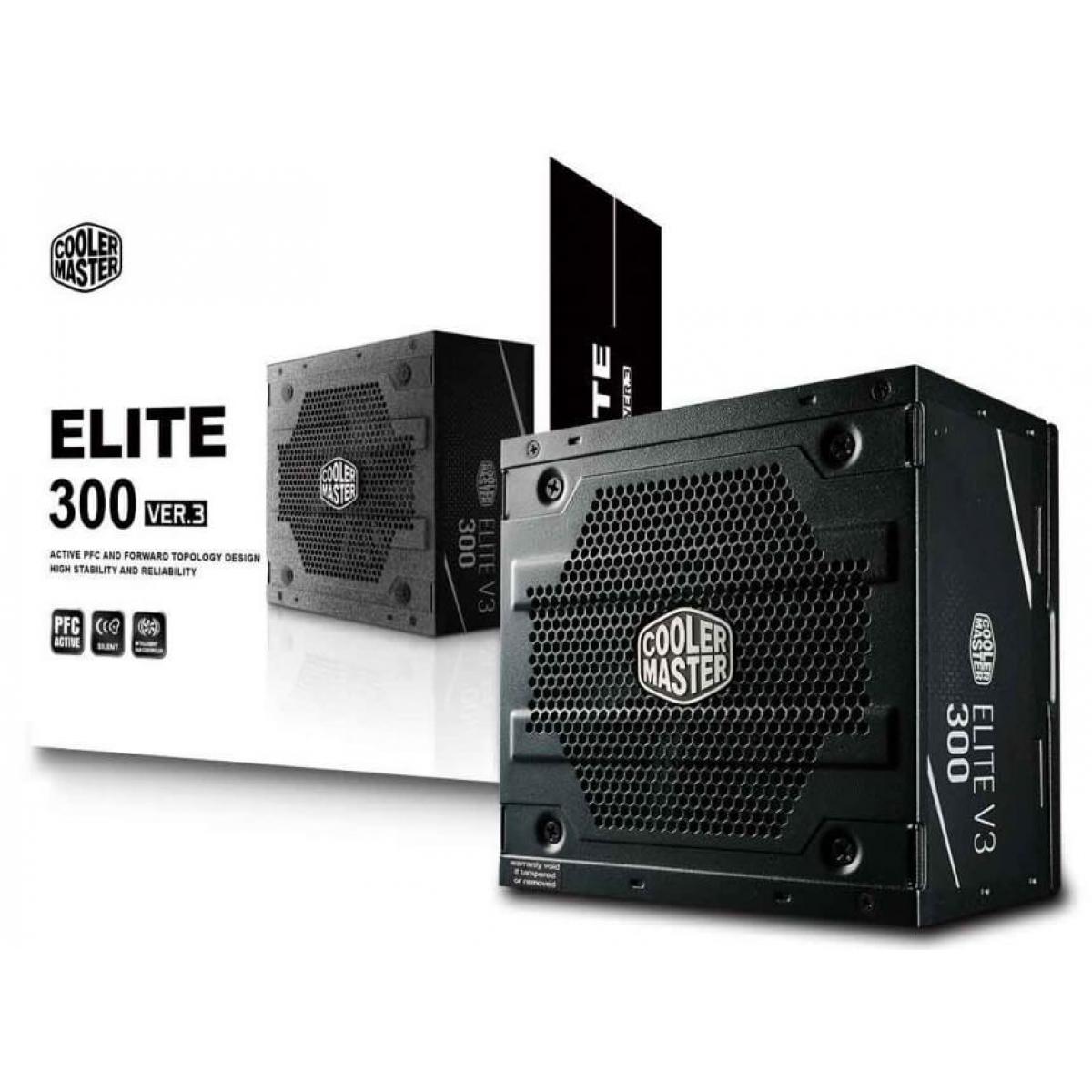 Fonte Cooler Master Elite V3 300W, PFC Ativo, MPW-3001-ACAAN1-WO - Open Box