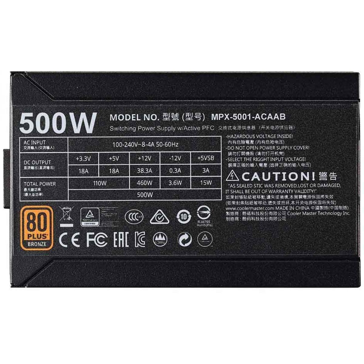Fonte Cooler Master Masterwatt 500W, Com Cabo, 80 Plus Bronze, PFC Ativo, MPX-5001-ACAAB-WO