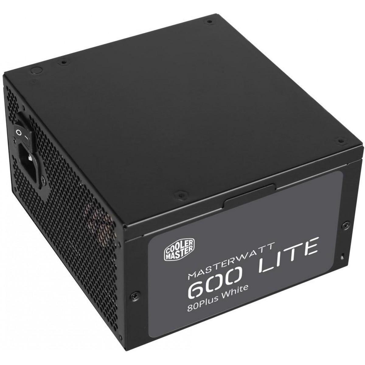 Fonte Cooler Master Masterwatt Lite 600W, 80 Plus White, PFC Ativo, MPX-6001-ACAAW-WO