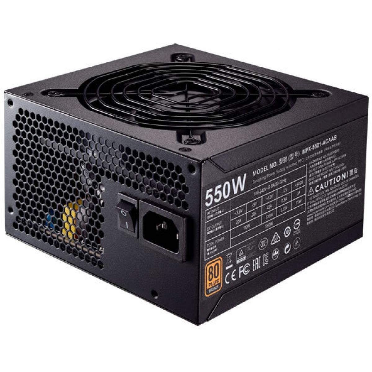 Fonte Cooler Master MWE 550W, 80 Plus Bronze, PFC Ativo, MPX-5501-ACAAB-WO