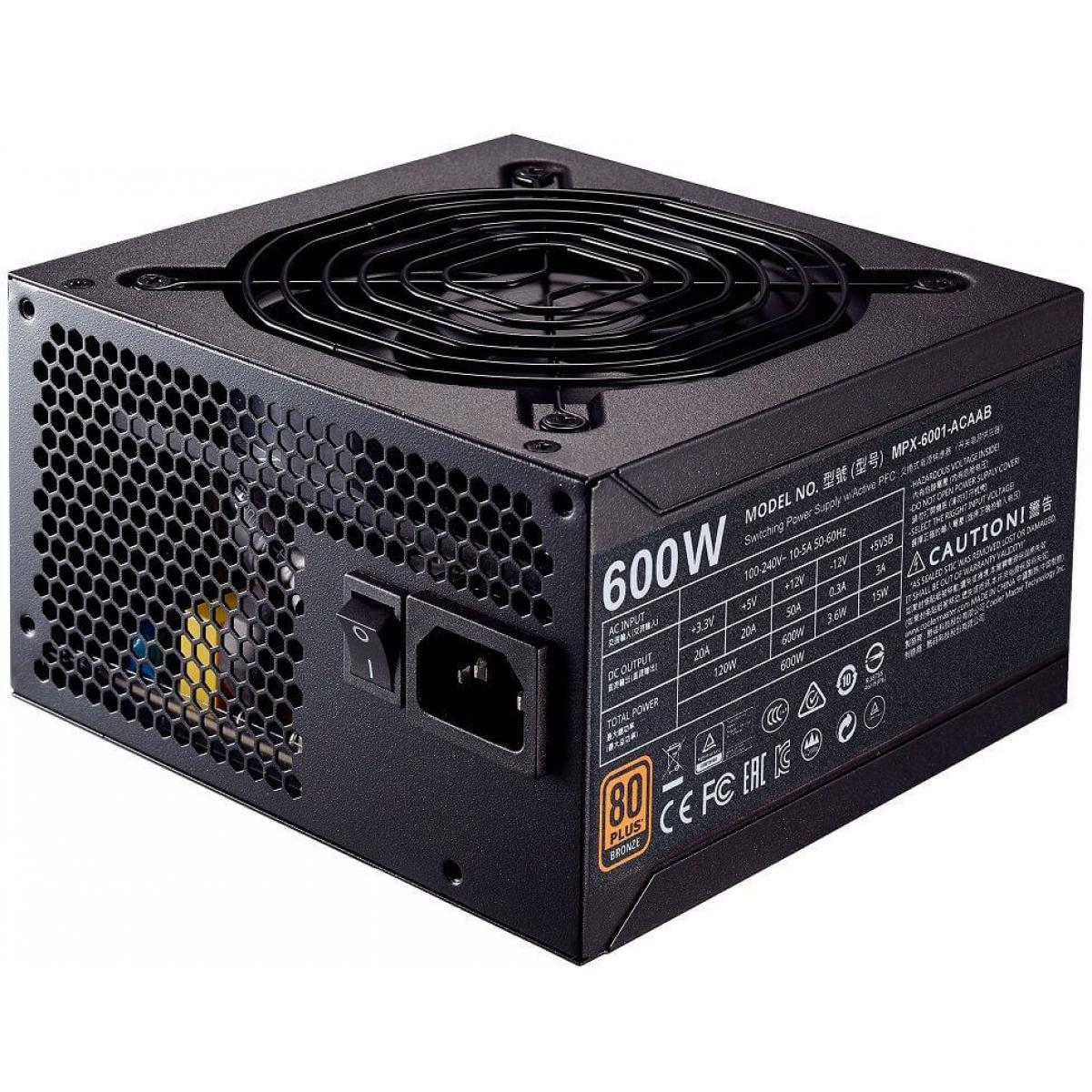 Fonte Cooler Master MWE 600W, 80 Plus Bronze, PFC Ativo, MPX-6001-ACAAB-WO
