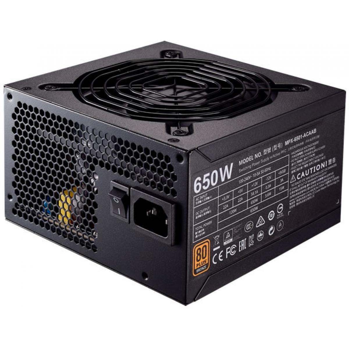Fonte Cooler Master MWE 650W, 80 Plus Bronze, PFC Ativo, MPX-6501-ACAAB-WO