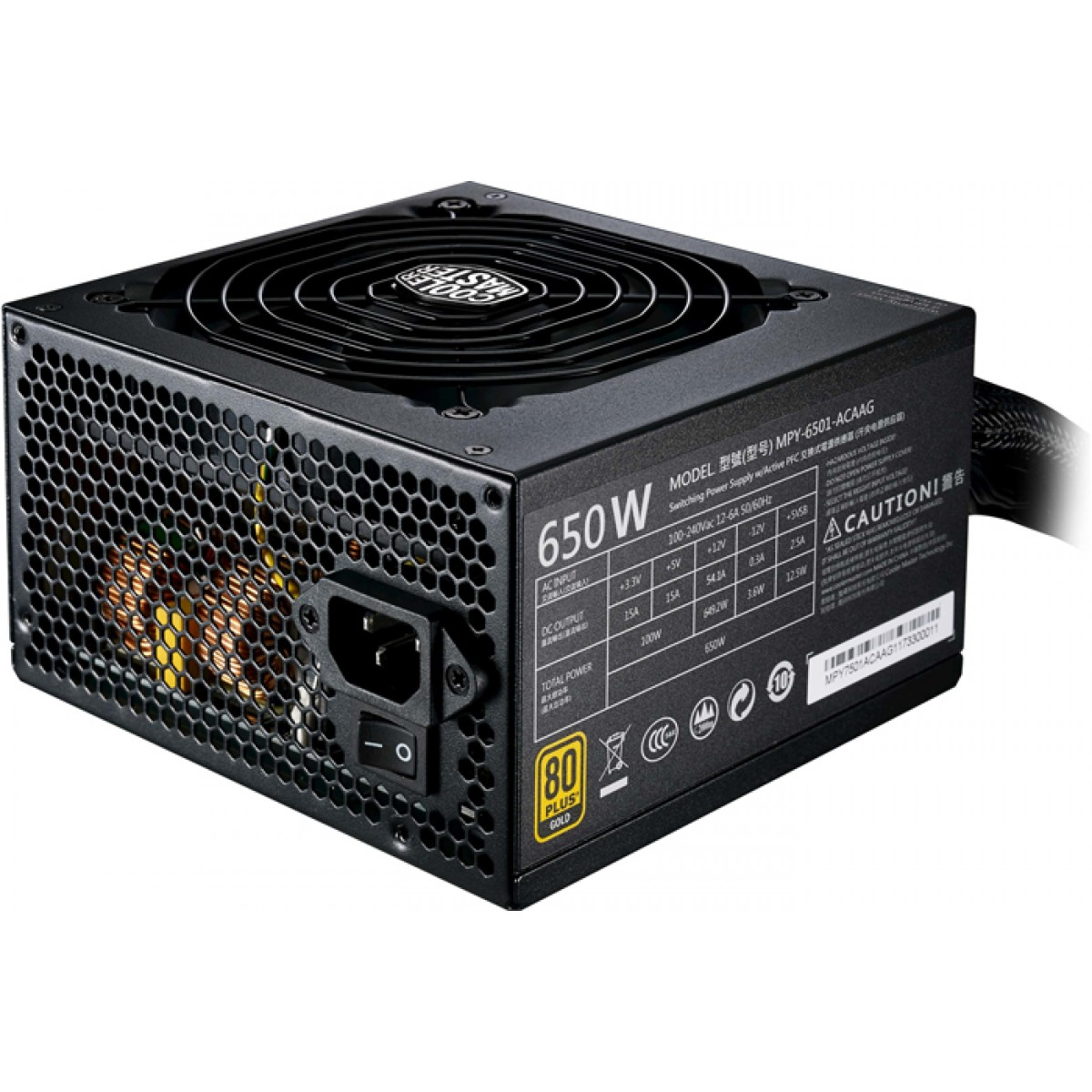 Fonte Cooler Master MWE 650W, 80 Plus Gold, PFC Ativo, MPY-6501-ACAAG-WO
