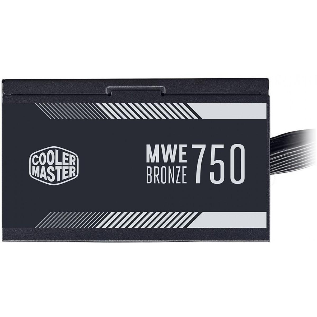 Fonte Cooler Master MWE 750W, 80 Plus Bronze, PFC Ativo, MPE-7501-ACAAB-BR