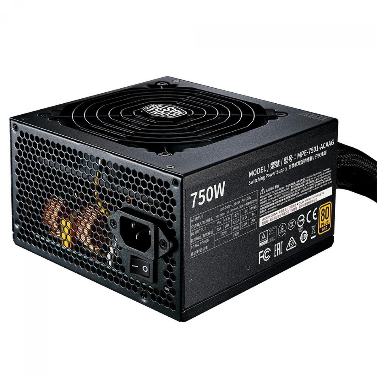 Fonte Cooler Master MWE V2 750W, 80 Plus Gold, PFC Ativo, MPE-7501-ACAAG-WO