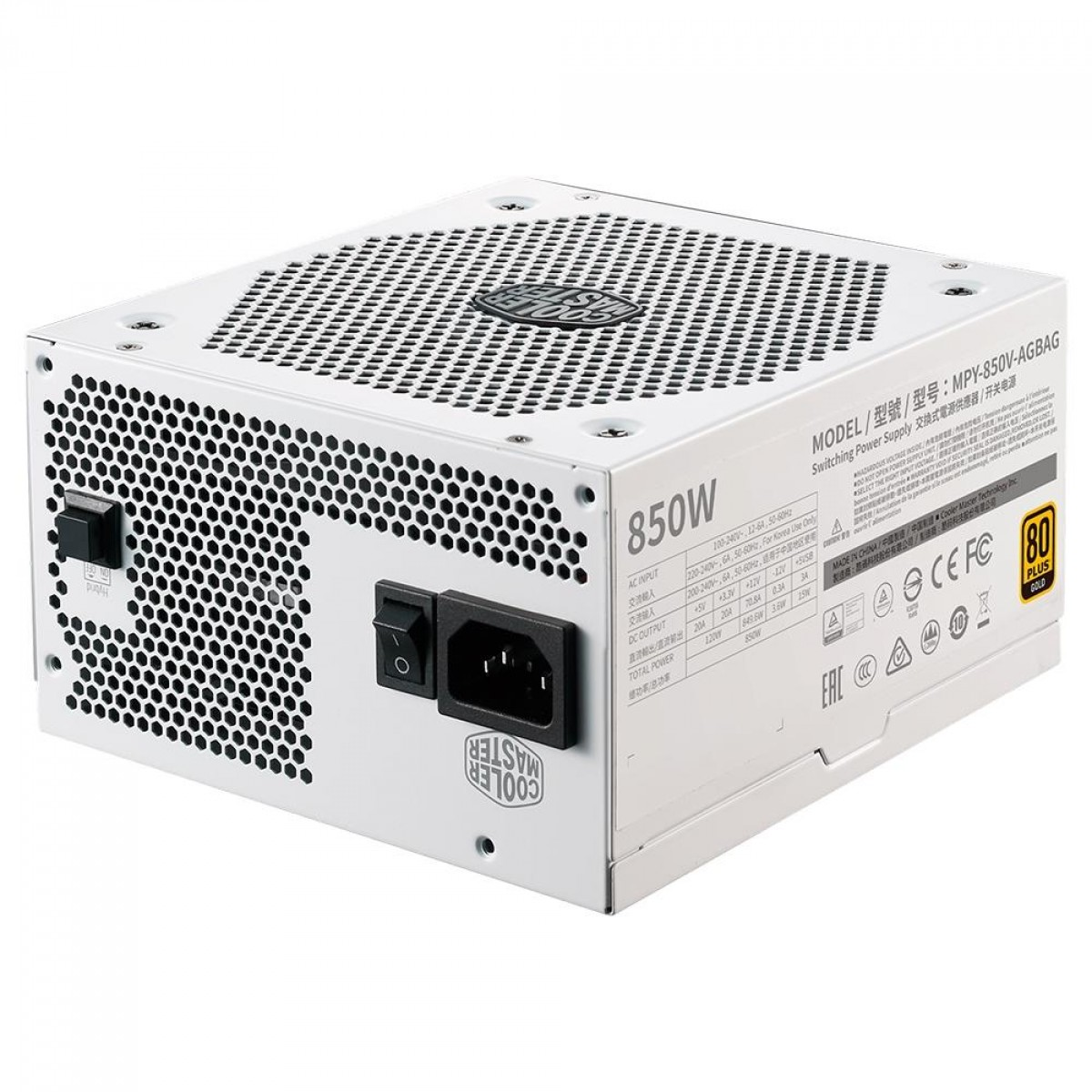 Fonte Cooler Master V850 V2 850W, 80 Plus Gold, PFC Ativo, Full Modular, MPY-850V-AGBAG-WO