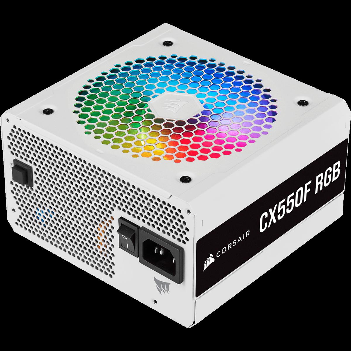 Fonte Corsair CX550F RGB 550W, White, 80 Plus Bronze, CP-9020225-BR