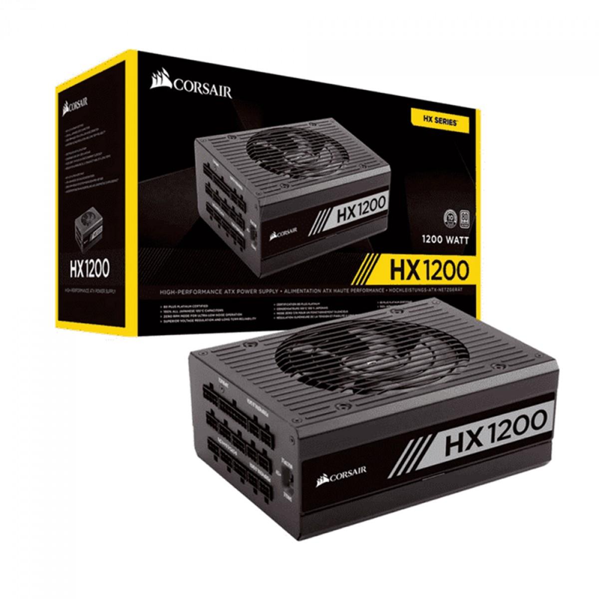 Fonte Corsair HX1200 CP-9020140-WW 1200W 80 Plus Platinum PFC Ativo Modular, CP-9020140-WW
