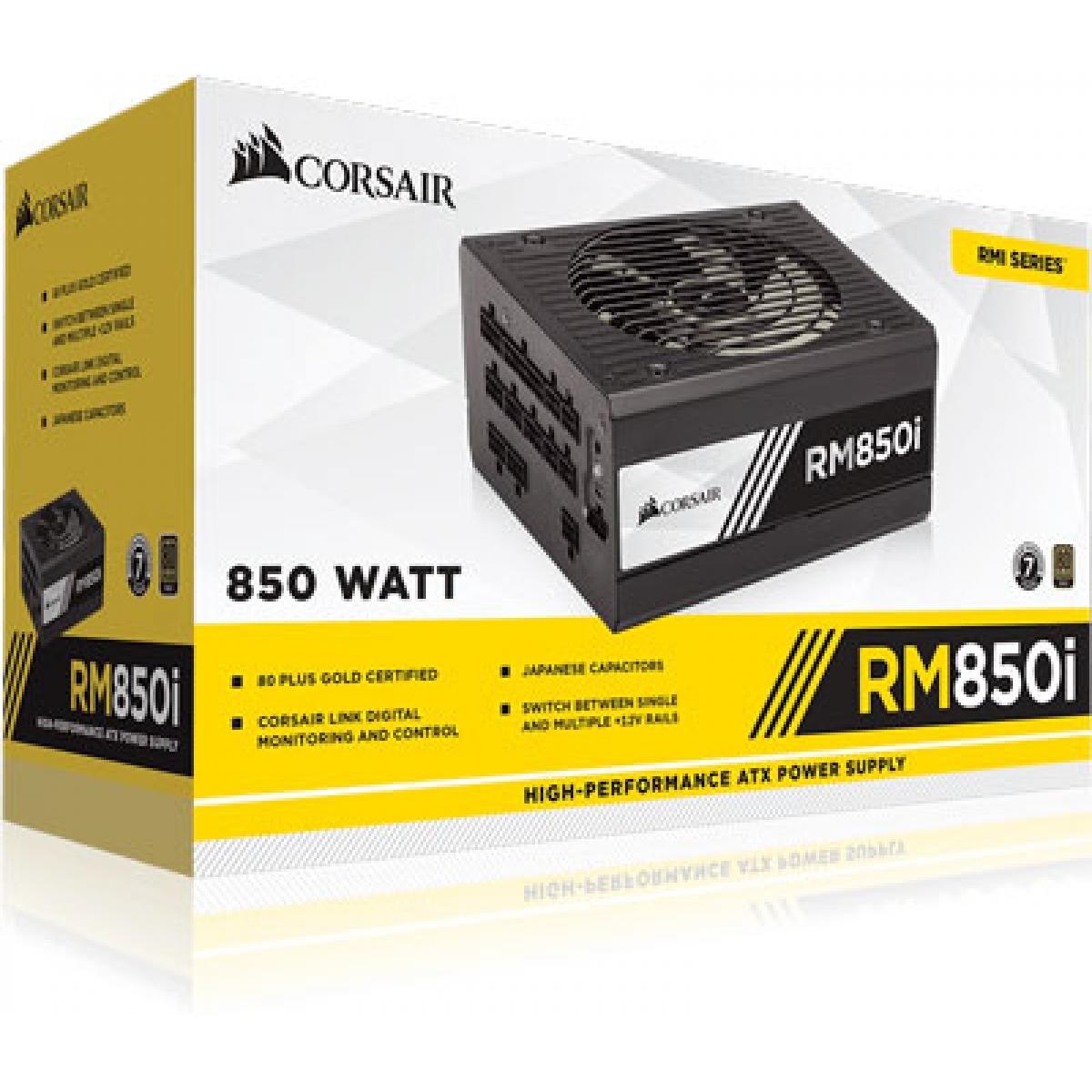 Fonte Corsair RM850i 850W, 80 Plus Gold, PFC Ativo, Full Modular, CP-9020083-WW