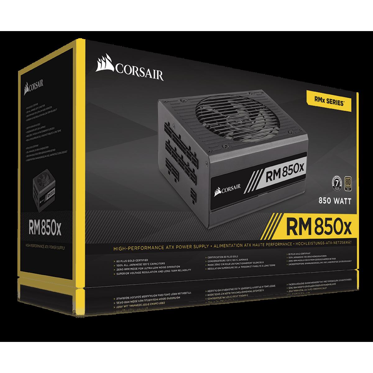 Fonte Corsair RM850x 850W, 80 Plus Gold, PFC Ativo, Full Modular, CP-9020180-NA