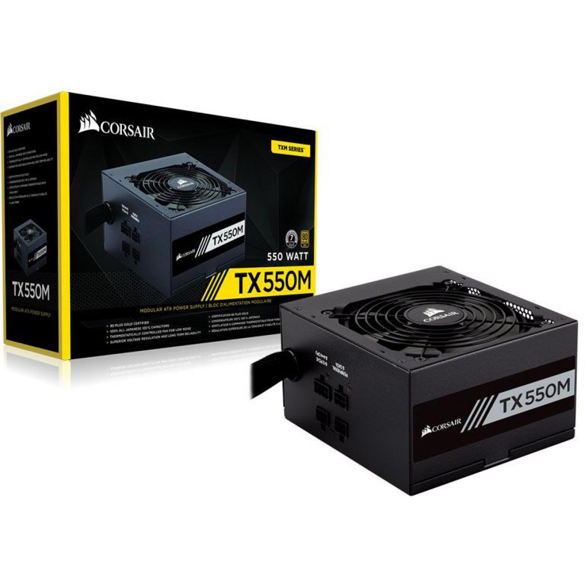Fonte Corsair TX550M 550W, 80 Plus Gold, PFC Ativo, Semi Modular, CP-9020133-WW