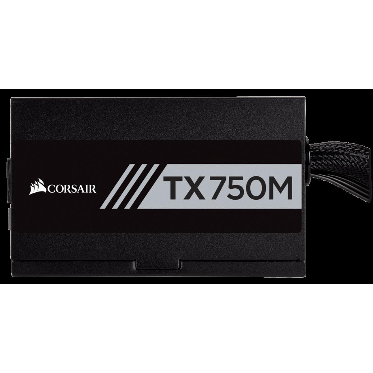 Fonte Corsair Tx750m 750w, 80 Plus Gold, PFC Ativo, Semi Modular, Cp-9020131-ww