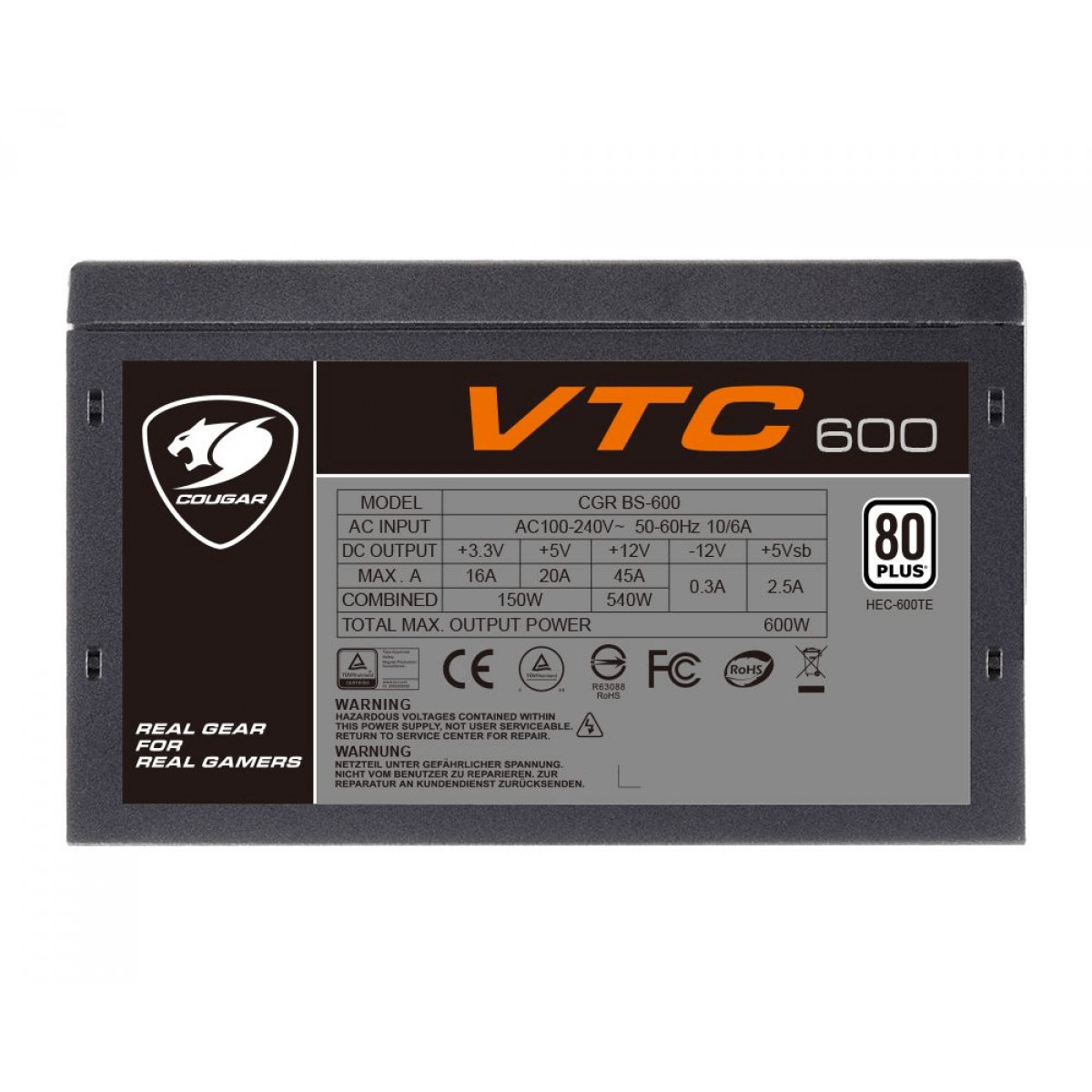Fonte Cougar VTC 600, 80 Plus 600W, PFC Ativo, 31VC060004P01