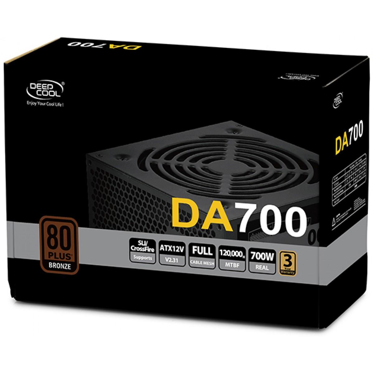 Fonte DeepCool DA700N 700W, 80 Plus Bronze, PFC Ativo, DP-BZ-DA700N