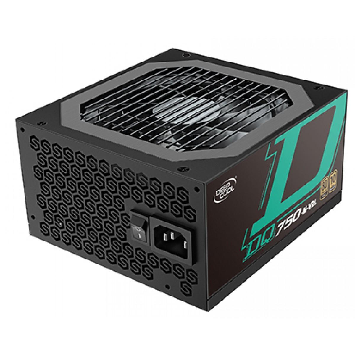 Fonte DeepCool DQ750, 750W, 80 Plus Gold, PFC Ativo, Full Modular, DP-DQ750-M-V2L