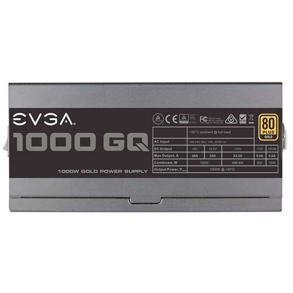 Fonte EVGA 1000 GQ 1000W, 80 Plus Gold, Semi Modular, PFC Ativo, 210-GQ-1000-V