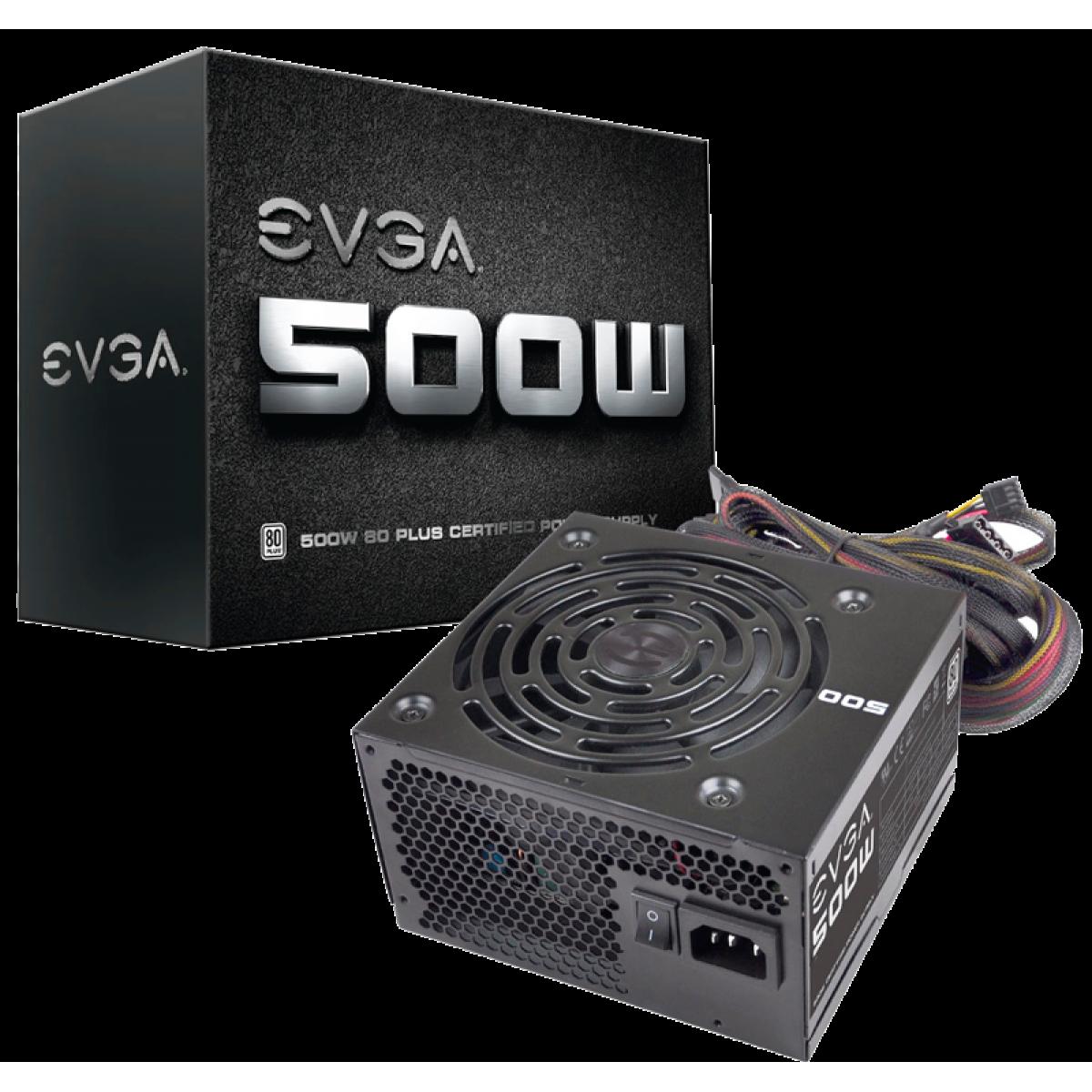 Fonte EVGA 500 W1 500W, 80 plus White, PFC Ativo, 100-W1-0500-KR