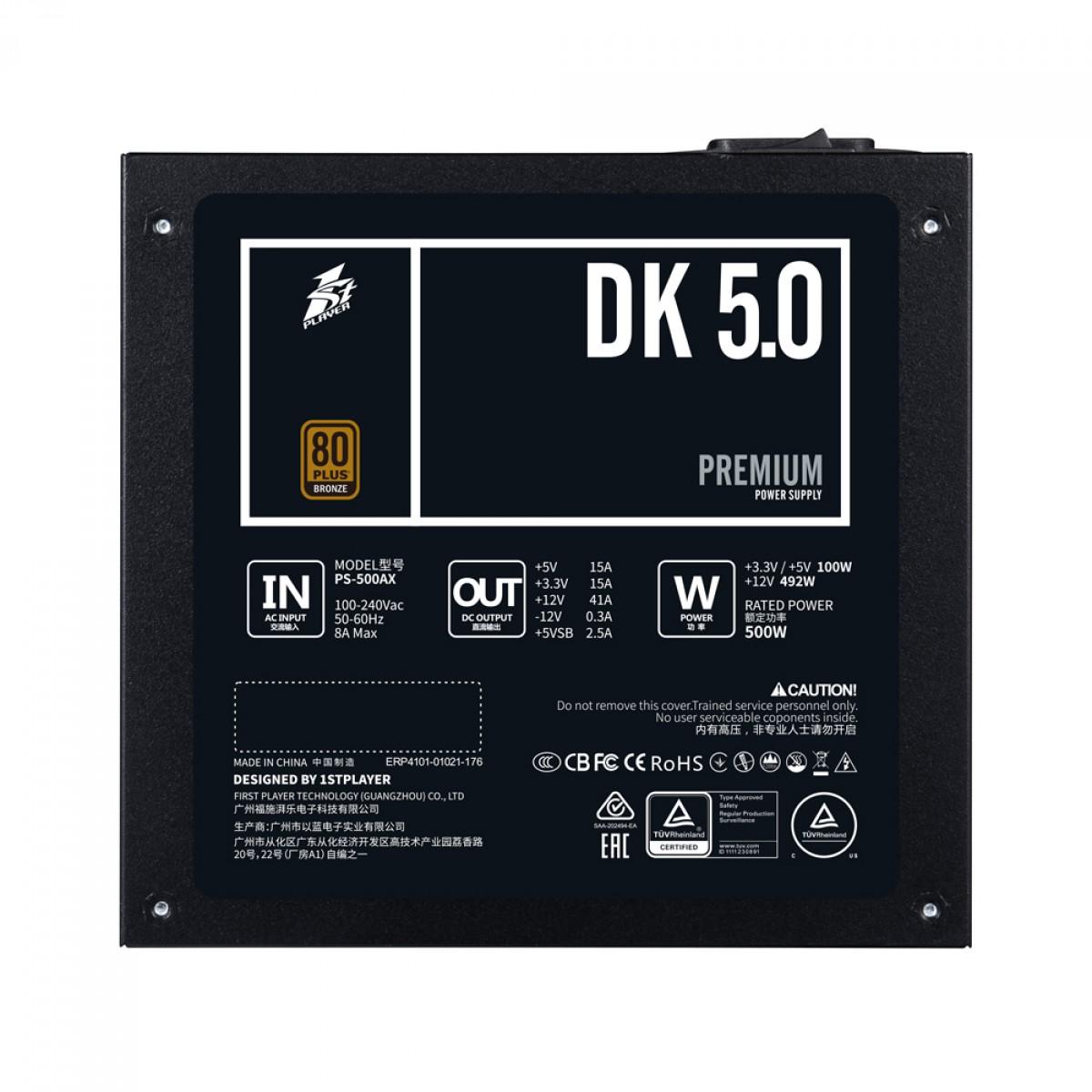 Fonte FirstPlayer DK PREMIUM 5.0, 500W, 80 Plus Bronze, PFC Ativo, PS-500AX
