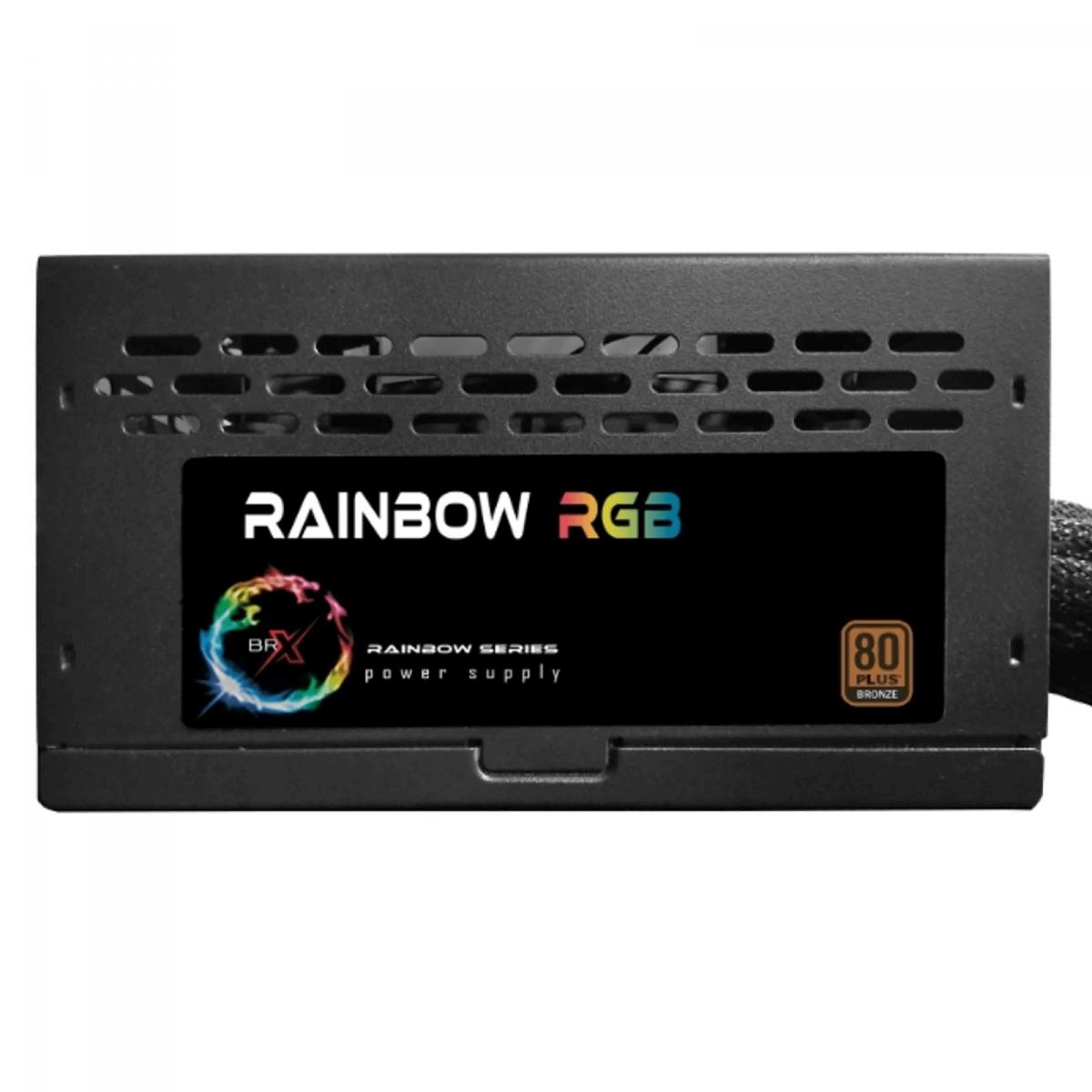 Fonte BR-X RGB 500W 80 Plus Bronze, PFC Ativo