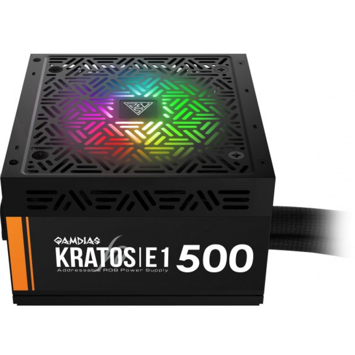 Fonte Gamdias Kratos E1 500W RGB, 80 Plus White