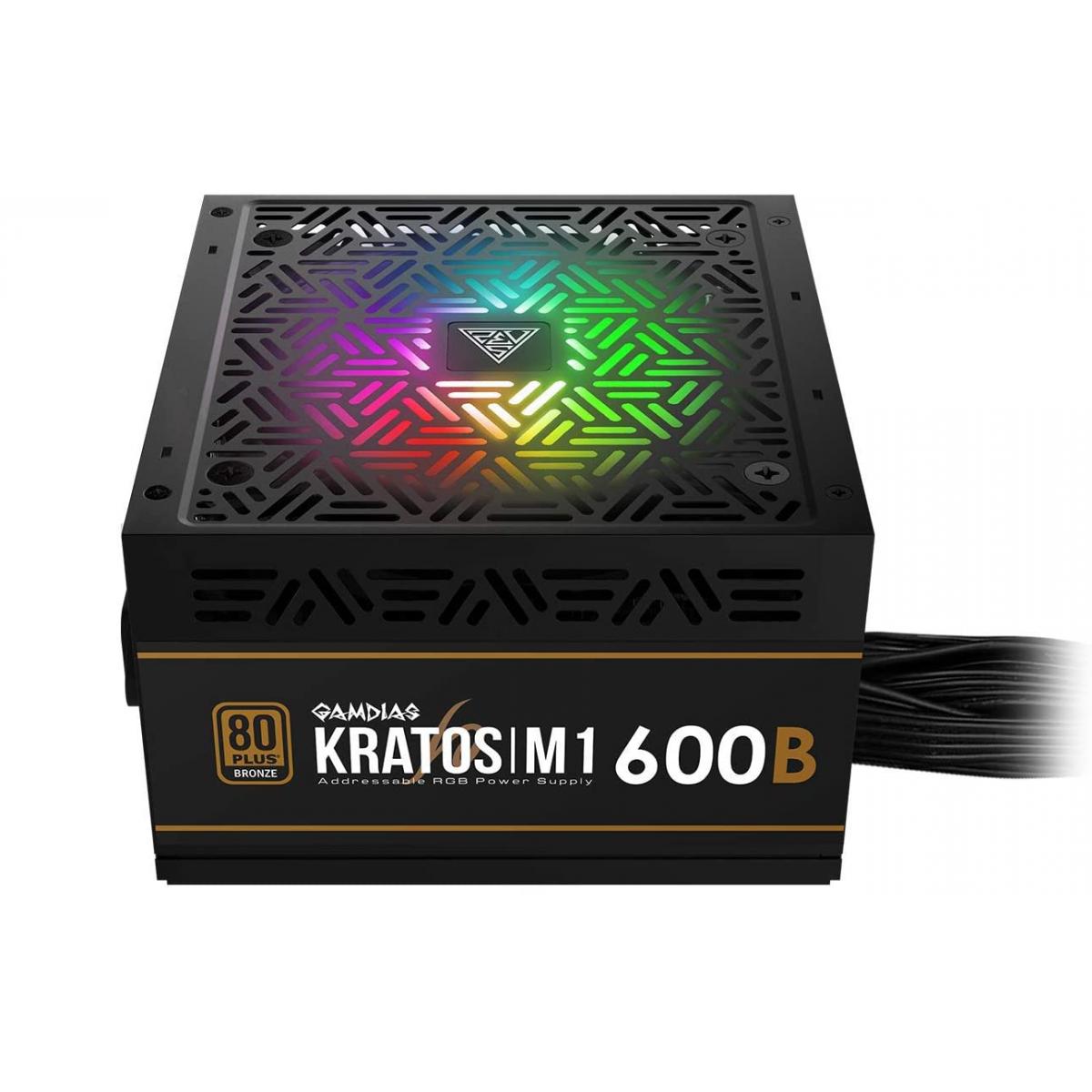 Fonte Gamdias Kratos M1 600W RGB, 80 Plus Bronze, PFC Ativo, M1-600