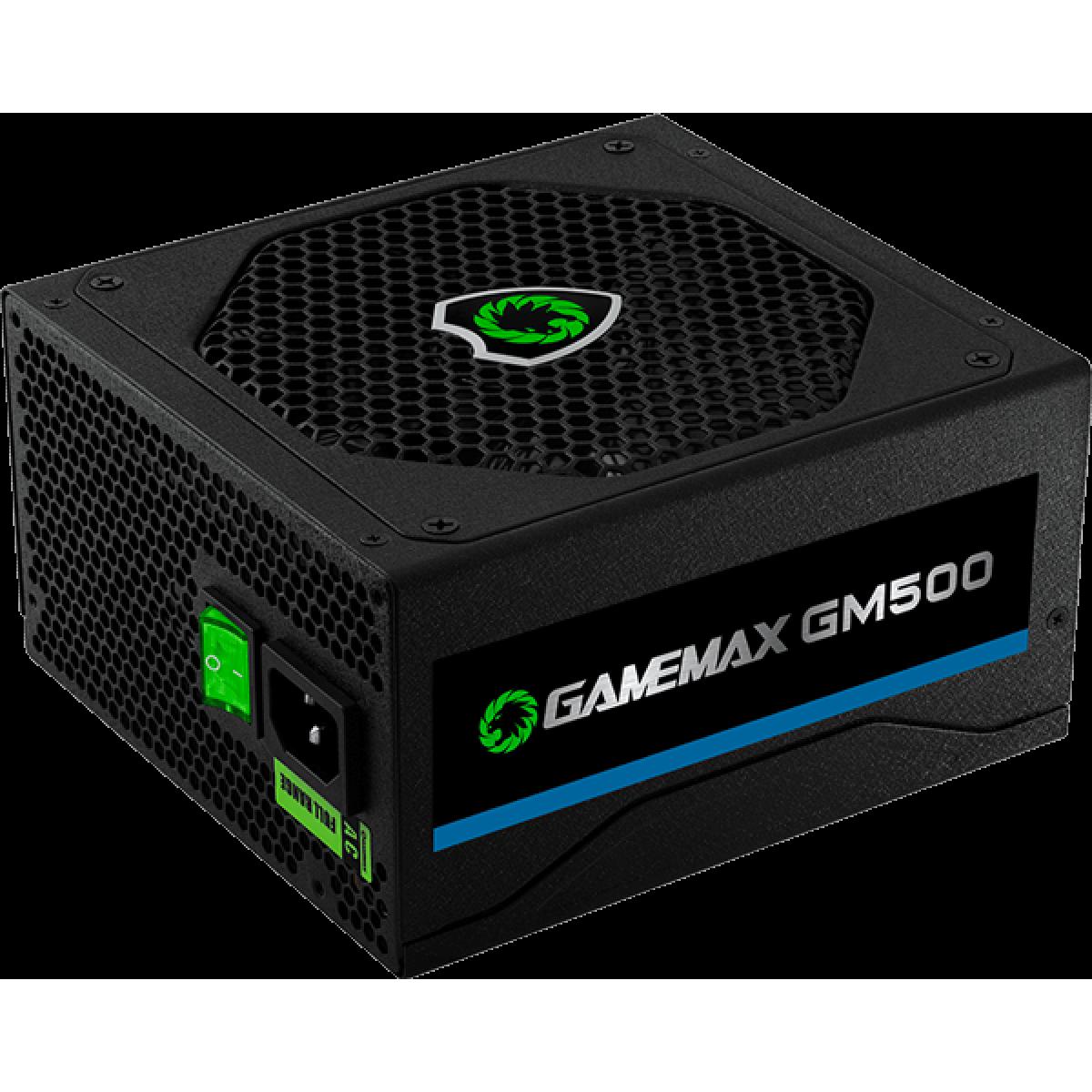 Fonte Gamemax GM500 500W, 80 Plus Bronze, PFC Ativo, OEM, sem caixa.