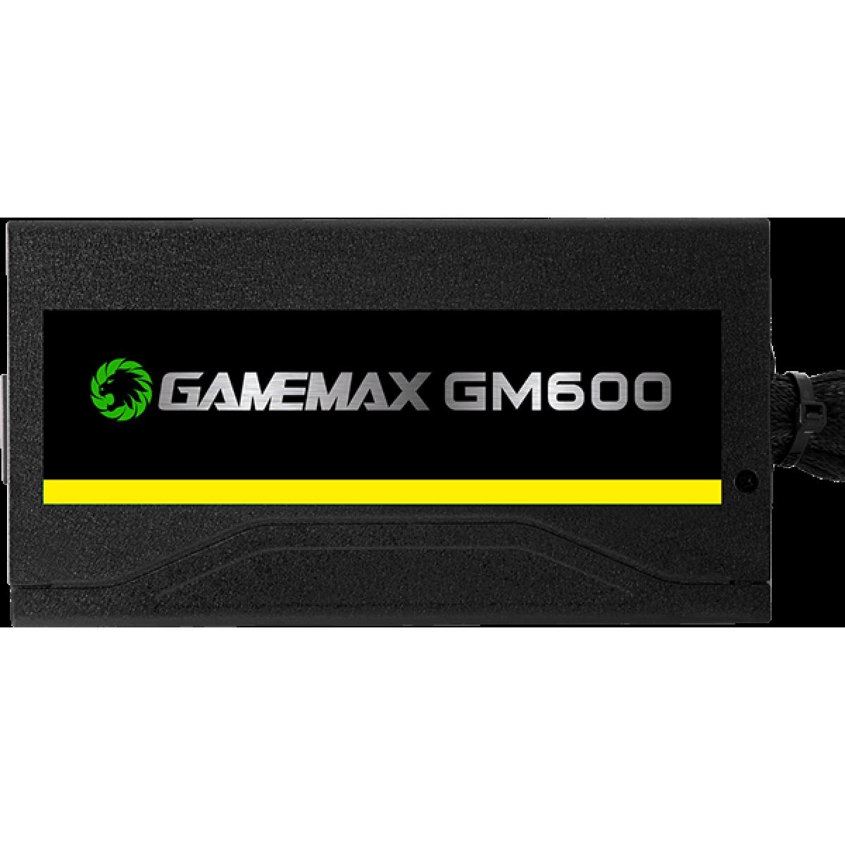 Fonte Gamemax GM600 600W, 80 Plus Bronze, PFC Ativo, Semi Modular, OEM