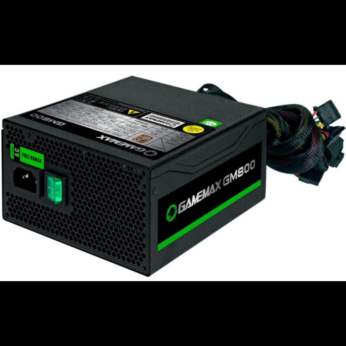 Fonte Gamemax GM800 800W, 80 Plus Bronze, PFC Ativo