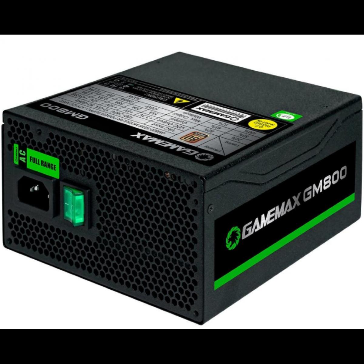 Fonte Gamemax GM800 800W, 80 Plus Bronze, PFC Ativo, Black