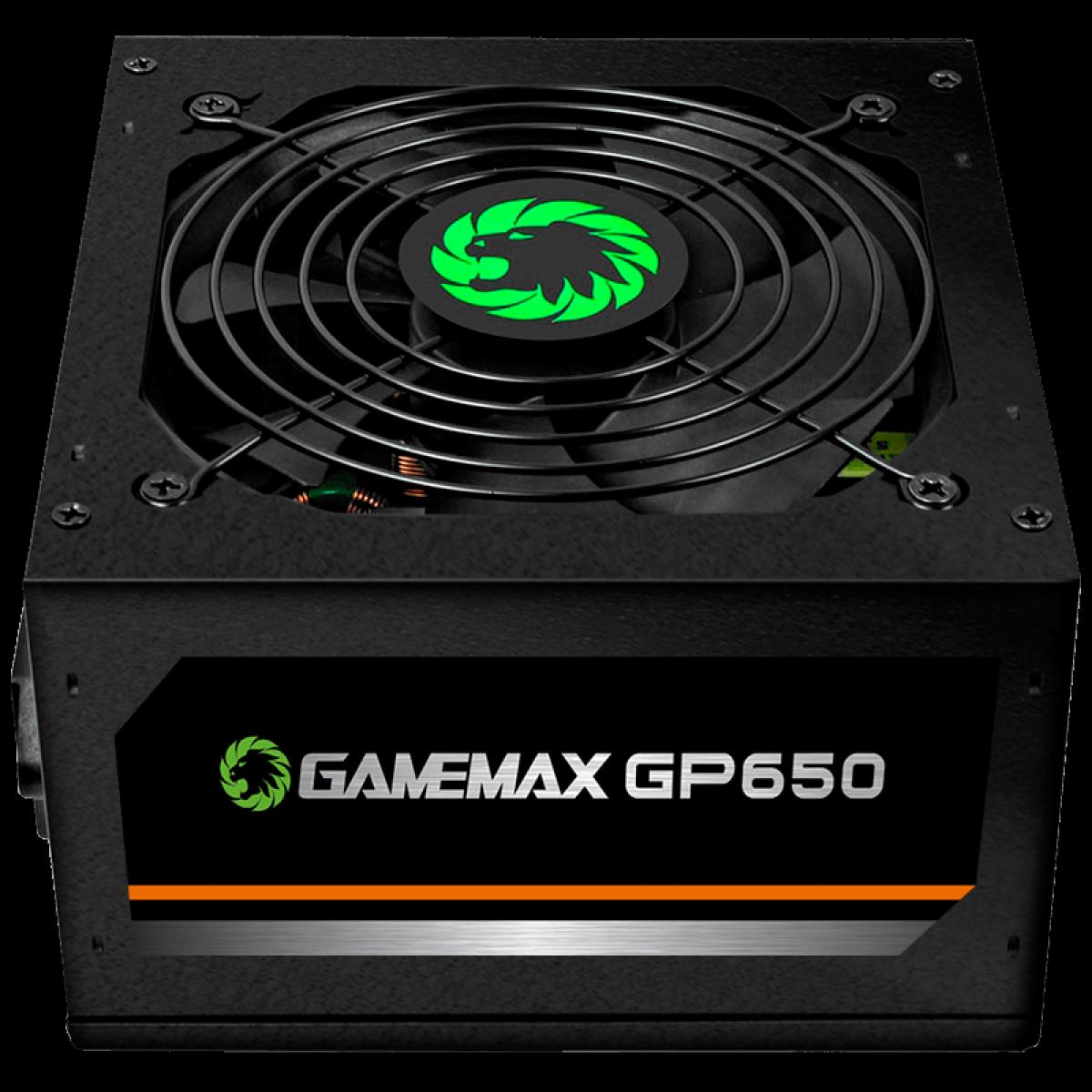 Fonte Gamemax GP650 650W, 80 Plus Bronze, PFC Ativo, Black
