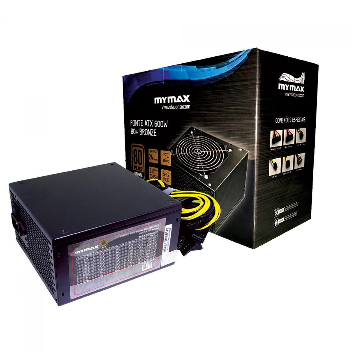Fonte Mymax ATX 600W MPSU/FP650W 80 Plus Bronze PFC ATIVO